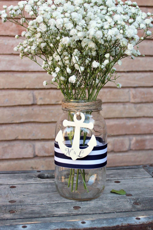 personalized anchor centerpiece mason jar . nautical wedding jar decor . navy blue and white stripes ribbon pen holder by MontanaSnow on Etsy (null)