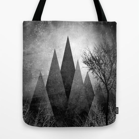 TREES VIII Tote Bag by Pia Schneider [atelier COLOUR-VISION] #art #totebags #bags #wearableart #fashionable #trees #branches #geometric #triangles #abstract #blackandwhite #gray #elegant #piaschneider #dark #illustration