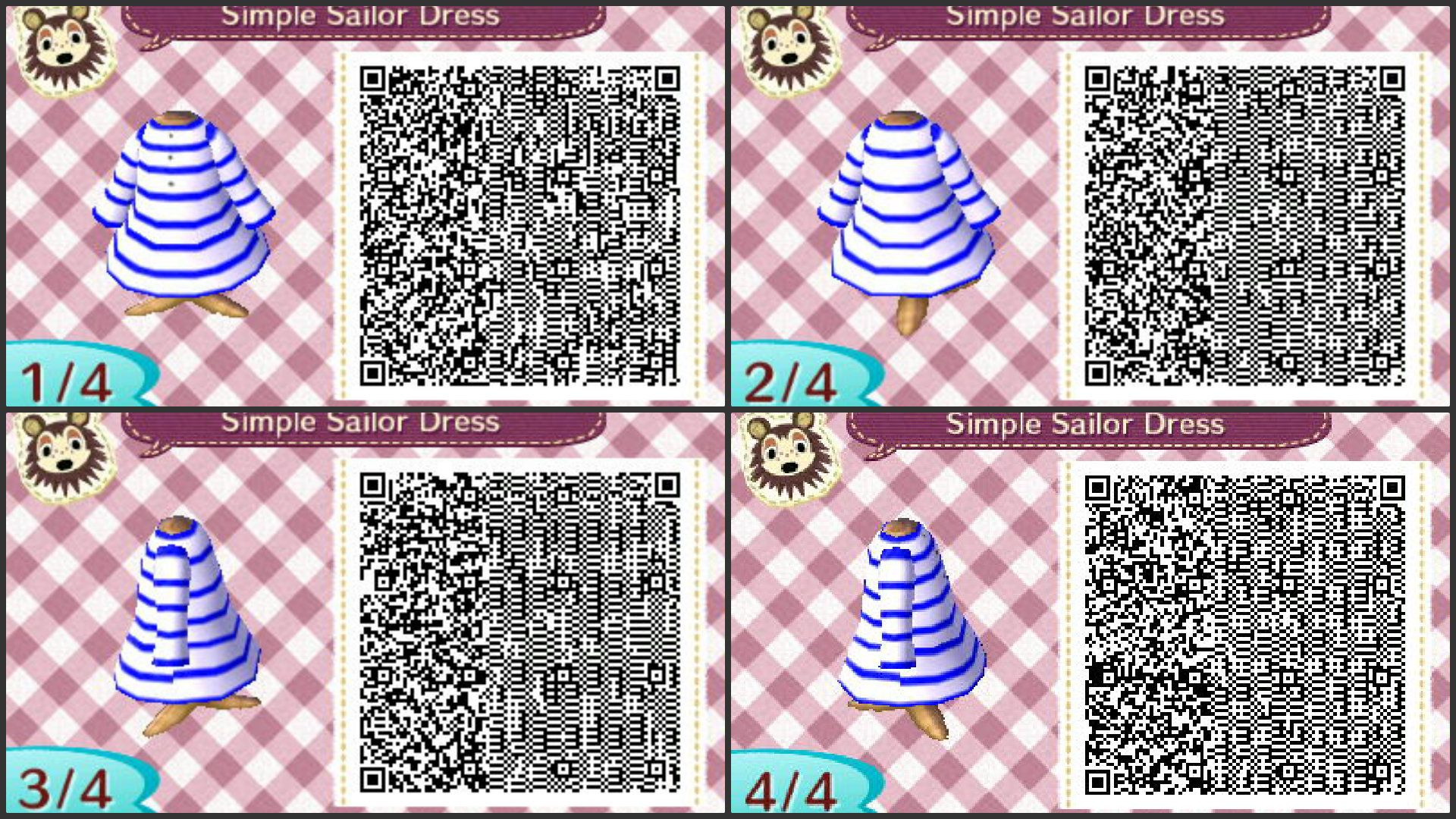 animal crossing new leaf simple sailor dress qr code. guess who