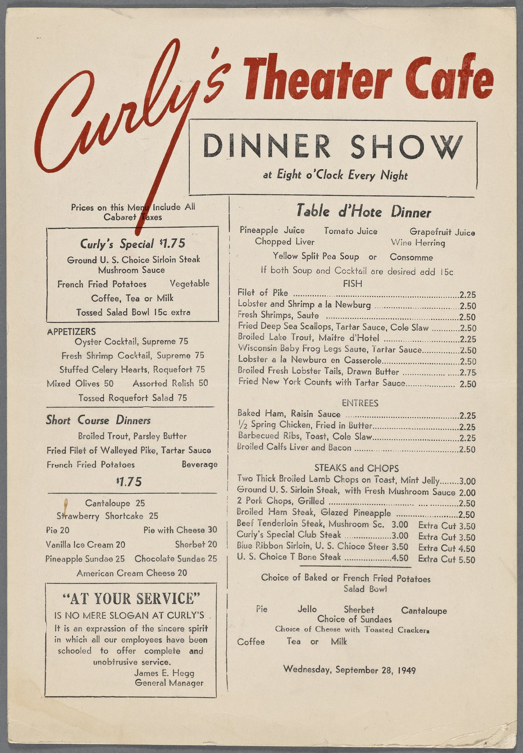 1940s menu for Curly\'s Theater Cafe | Lettering & Typography ...