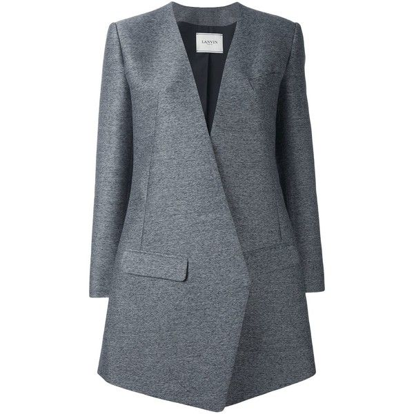 Lanvin diagonal cut blazer-style coat ($2,700) ❤ liked on Polyvore featuring outerwear, coats, grey, long sleeve coat, grey coat, lanvin coat, lanvin and collarless coat