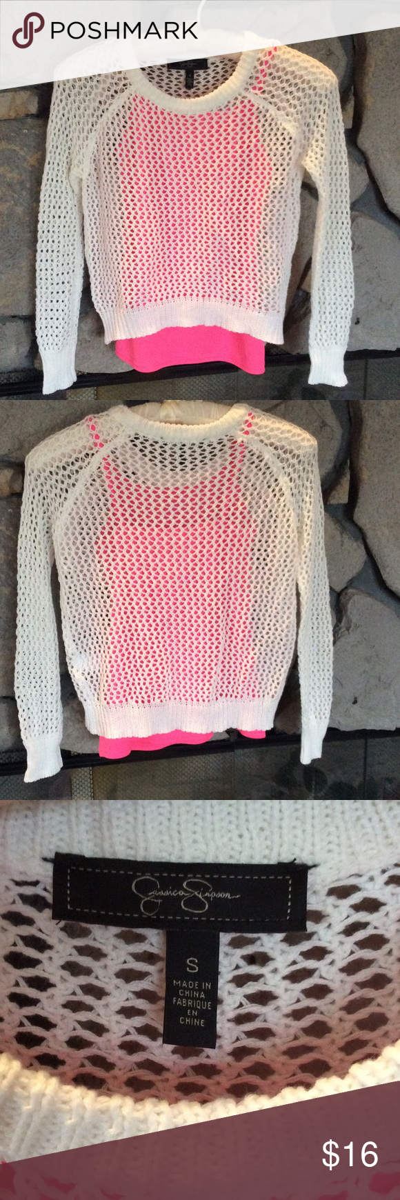 Layered white netted sweater w/pink tank White long sleeve netted sweater has attached hot pink tank underneath.  Hardly worn, great condition. Jessica Simpson Sweaters Crew & Scoop Necks