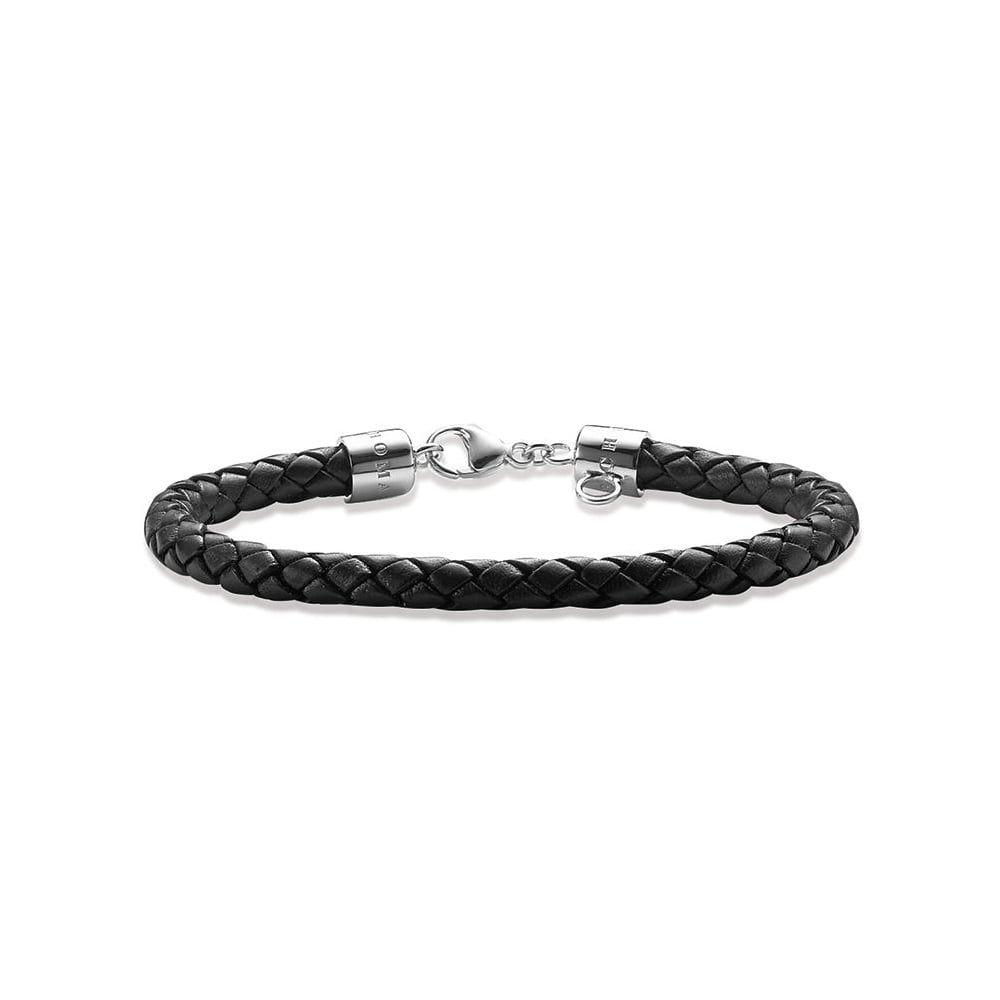 Thomas Sabo Black Leather Charm Carrier Bracelet X0053 008 11 Bracelets From Joshua James Uk