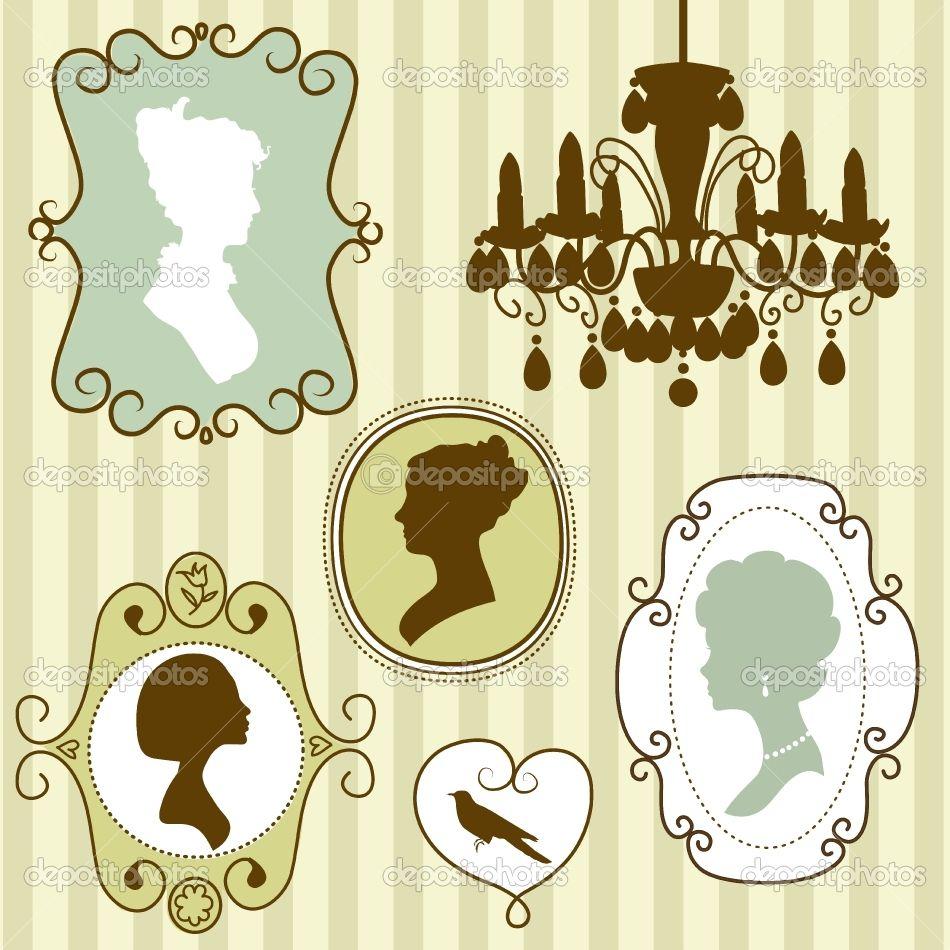 Google Image Result for http://static8.depositphotos.com/1260975/1037/v/950/depositphotos_10377691-Cute-vintage-frames-with-ladies-silhouettes.jpg
