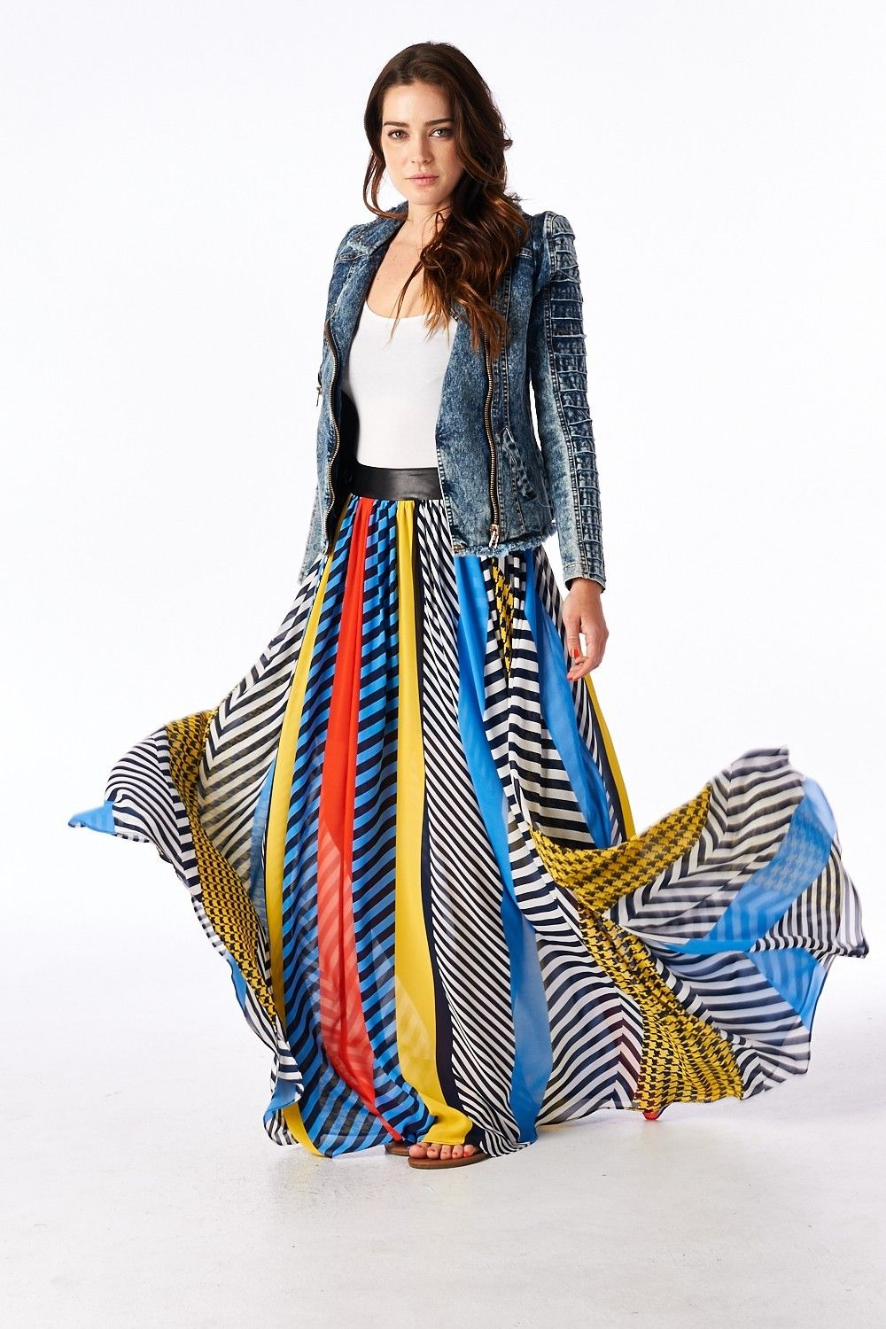 Tov Holy Multi Colored Crossroads Maxi Skirt Chic