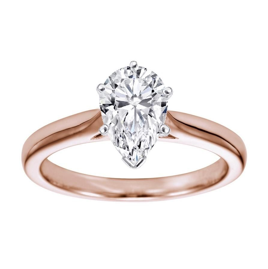 Rose Gold And White Gold Engagement Rings Pear Shape 16