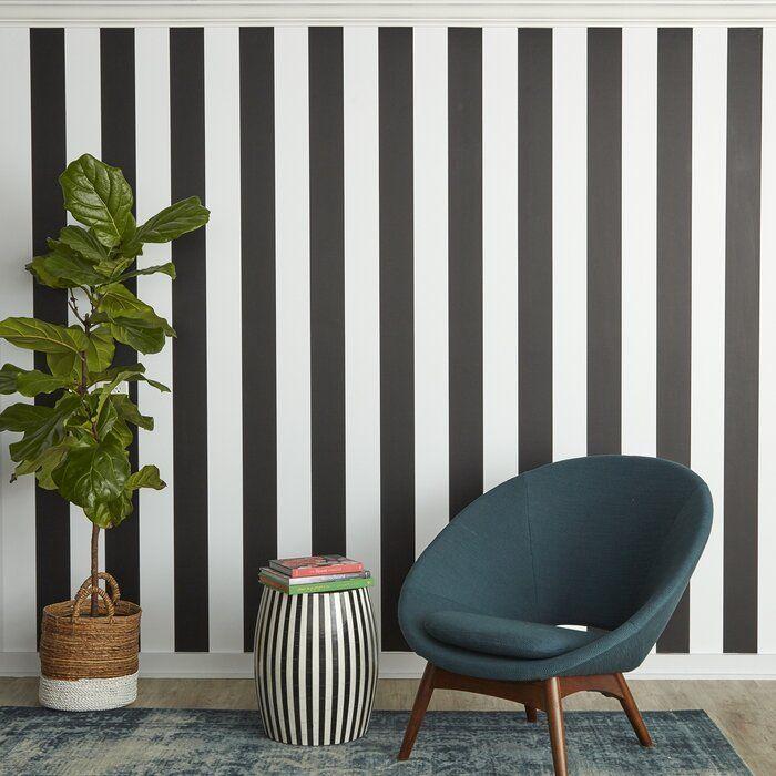 "Tempaper Stripe 33' x 20.5"" Peel and Stick Wallpaper Roll ..."