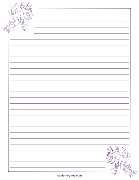 Unicorn Stationery and Writing Paper – Lined Stationary Template