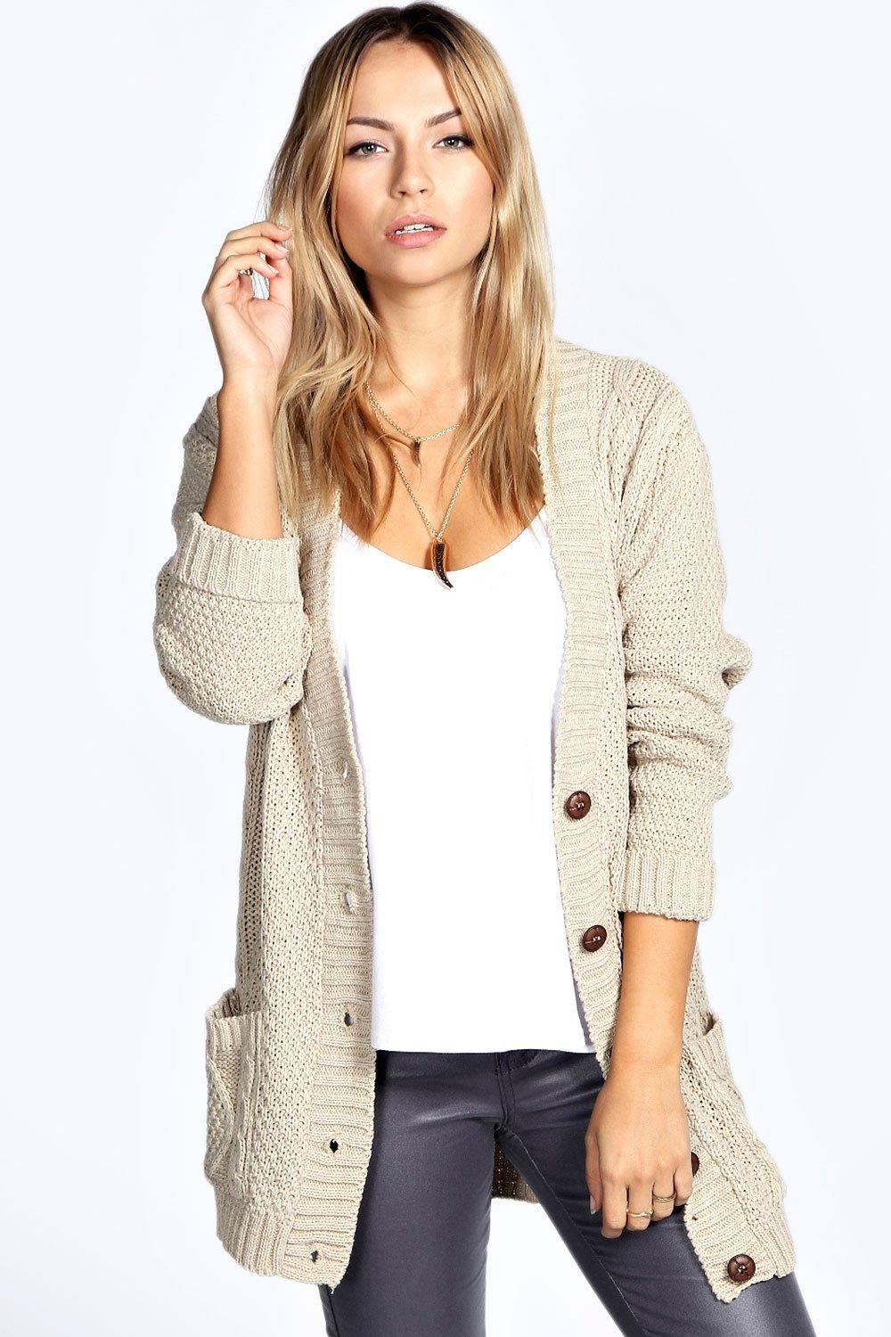 Cable Boyfriend Button Up Cardigan | Boohoo UK in 2020
