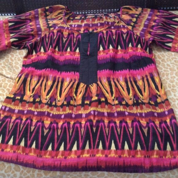 "Multi color linen tunic NWOTS Tribal colors great top armpit to armpit 21"" shoulder down 28.5"" L NY Collection Tops Tunics"
