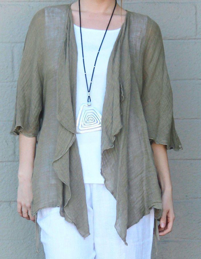 FENINI  USA  Linen Gauze  MESH JACKET Open Drape Front Tie-Hem 1X 2X 3X  SEED #FENINIUSA #Jacket #Versatile