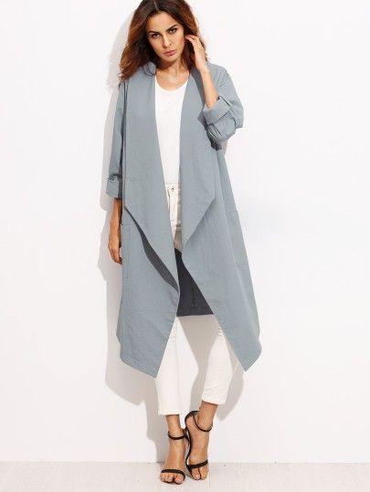 Damen Mantel 2017 mit Schal Kragen Drop Schulter Blau