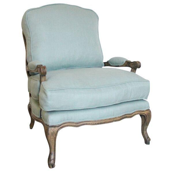 Briella Bergere Chair French Country Aqua Linen Bergere Chair