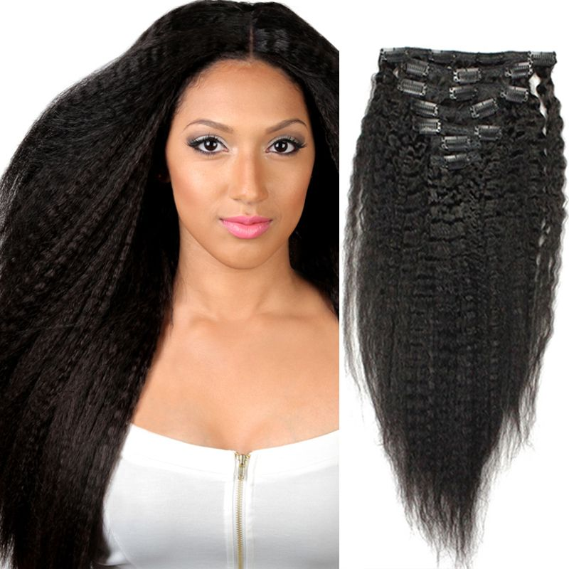 Kinky Straight Clip In Human Hair Extensions 7 Pcs Corase Yaki
