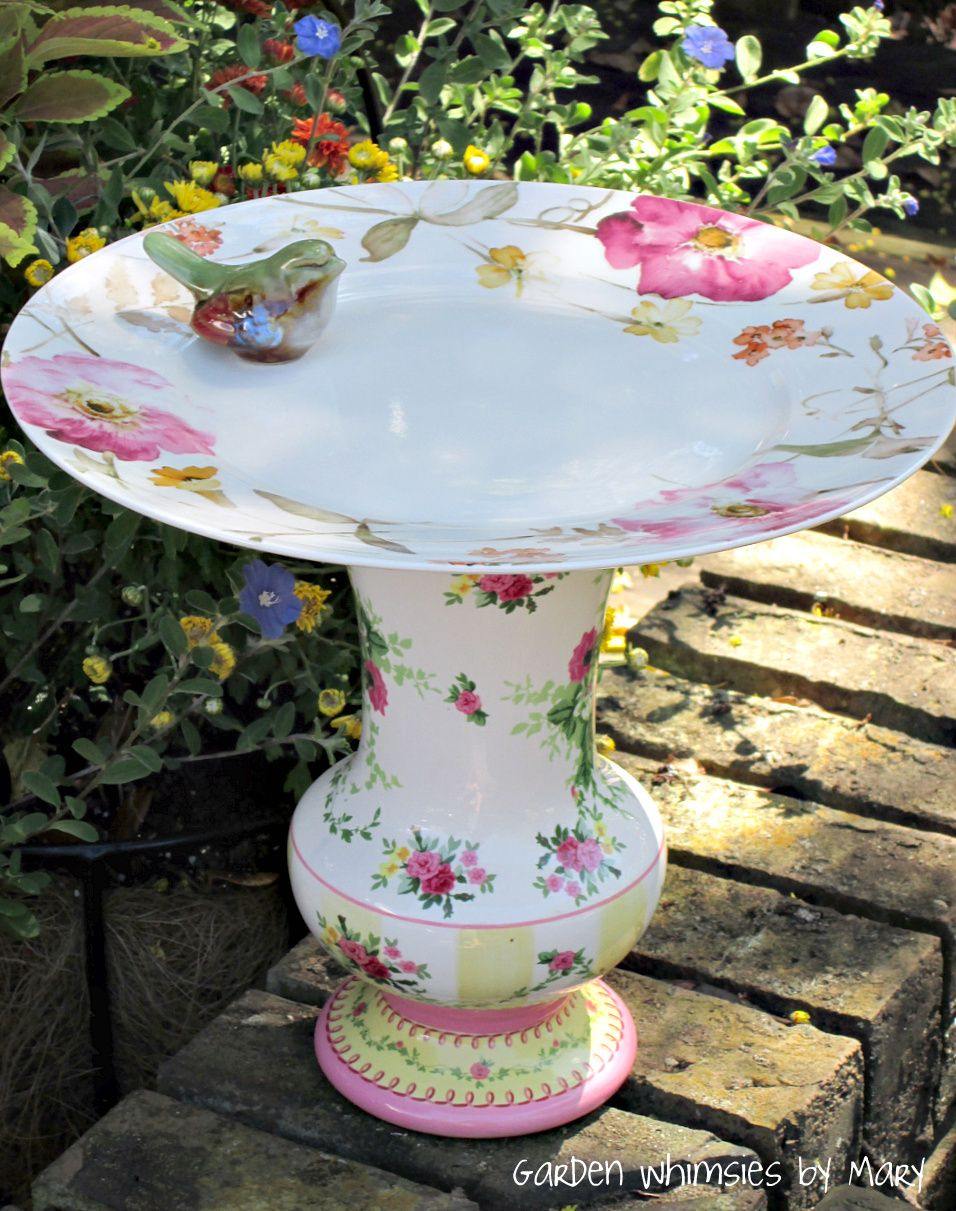 Shabby chic, cottage style bird bath or feeder, could DIY ...