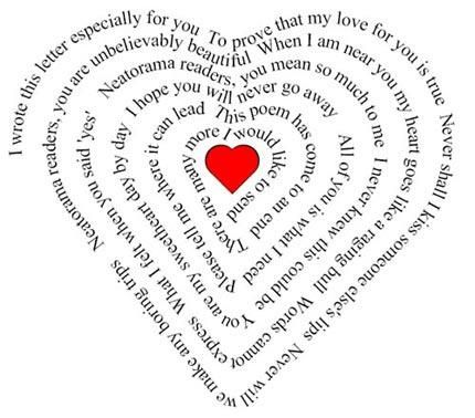 Carte d 39 amour en forme de coeur et de po me pour la saint valentin id es pour arts - Carte d amour ...