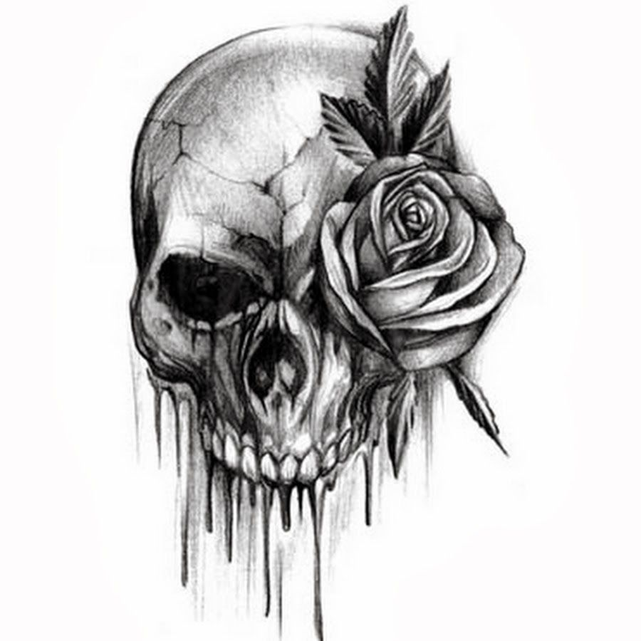 Rose Flower And Skull Black And White Tattoo Design Idea Skull Tattoo Design Tattoos Skull Tattoos