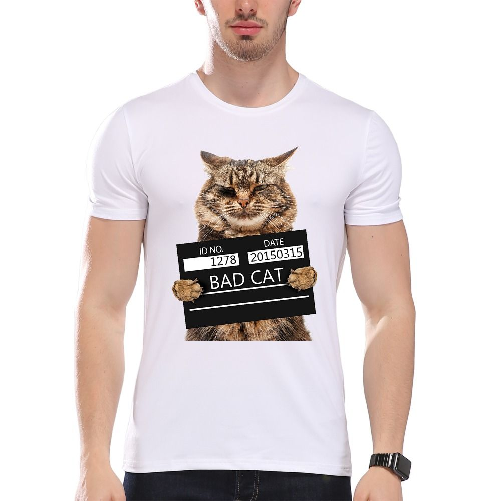 TEEHEART Men s Bad Cat Police Dept Print T Shirt Cool Cat t shirt