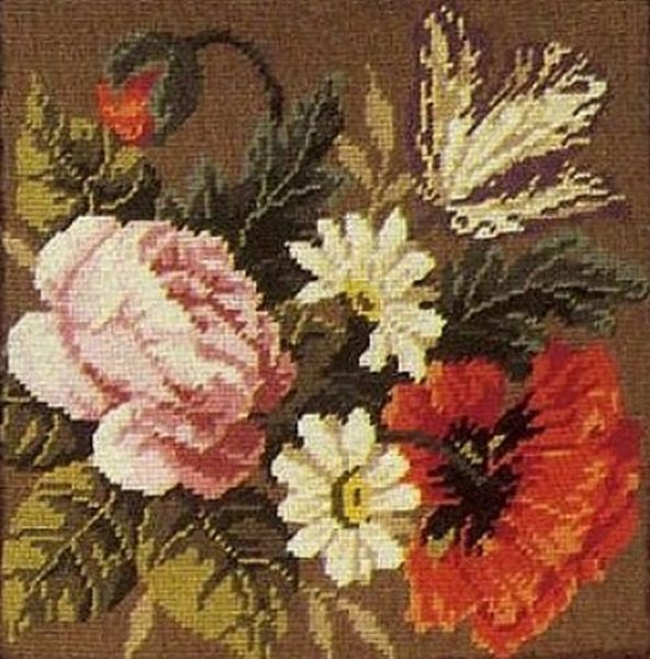Gobelin Kissen Blumen Blumen