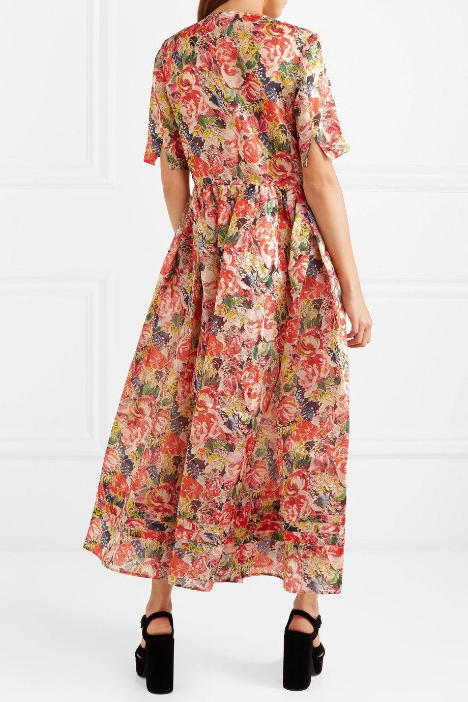 28b9e1d3 GANNI | Seneca embellished floral-print silk-organza maxi dress |  NET-A-PORTER.COM