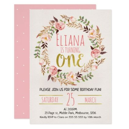 Watercolor Floral Wreath 1st Birthday Invitation - calligraphy gifts - invitation card for ist birthday