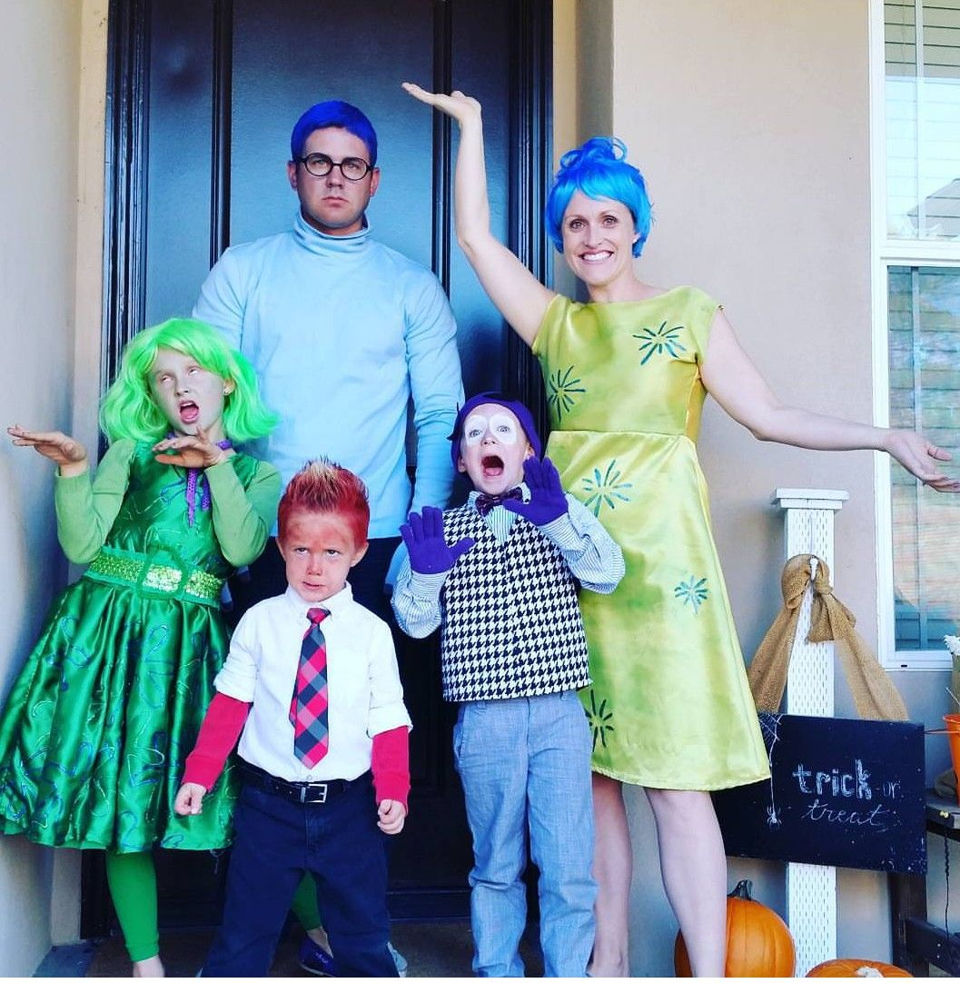 Family Homemade Halloween Costume Idea Inside Out Costumes Ideas Disney Movie Costume Ideas Check Kid Movies Inside Out Costume Homemade Halloween Costumes