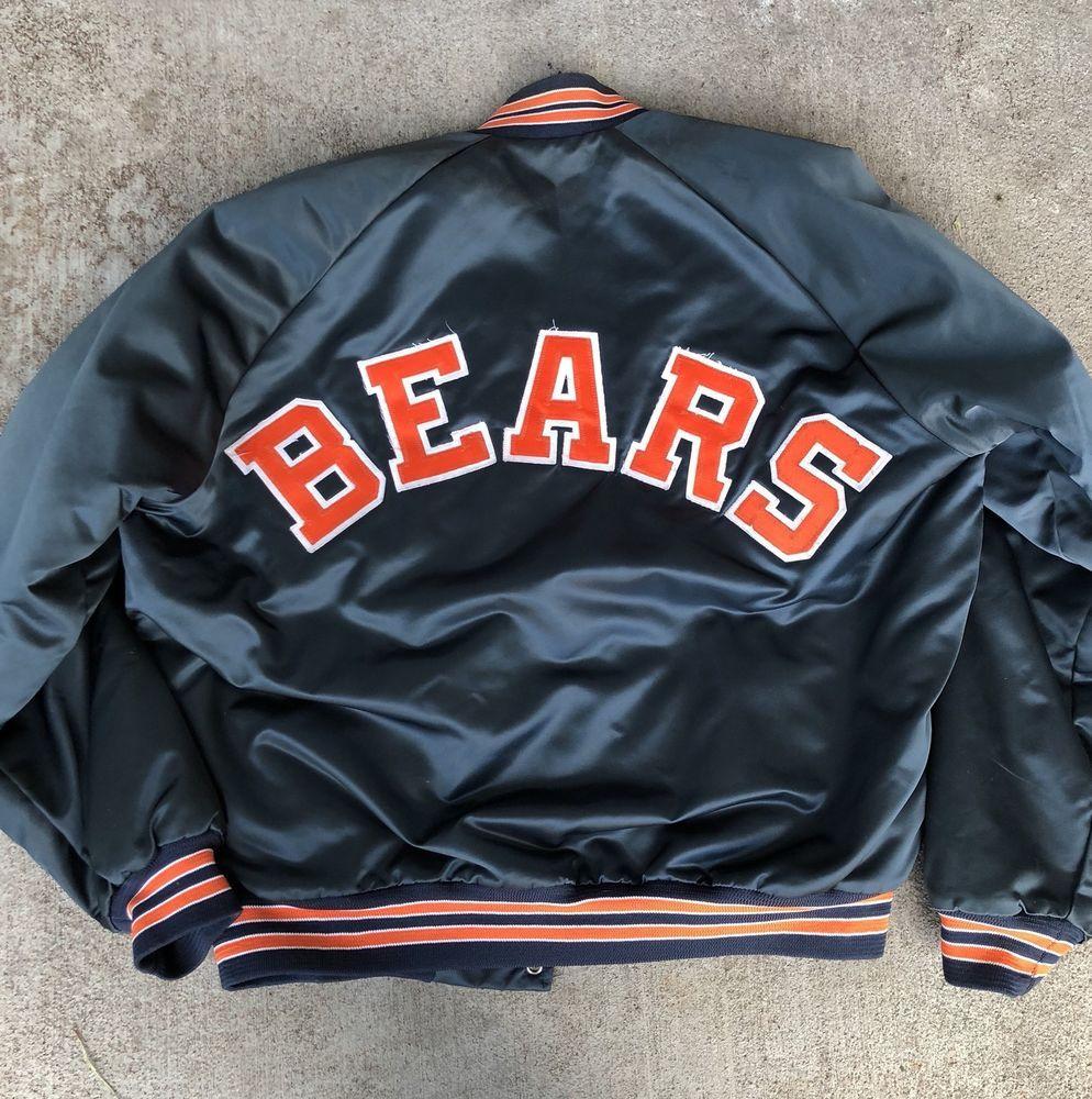 Vtg Chicago Bears Nfl Satin Varsity Bomber Jacket Chalk Line 80s Men S Snap Sz L Ebay Varsity Bomber Jacket Gameday Outfit 80s Men [ 1000 x 994 Pixel ]