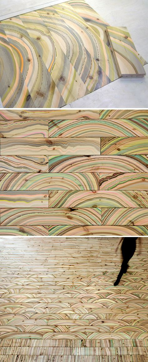 Repurposed wood with an old marbling technique, giving it a supernatural, organic, colorful and vibrant pattern.