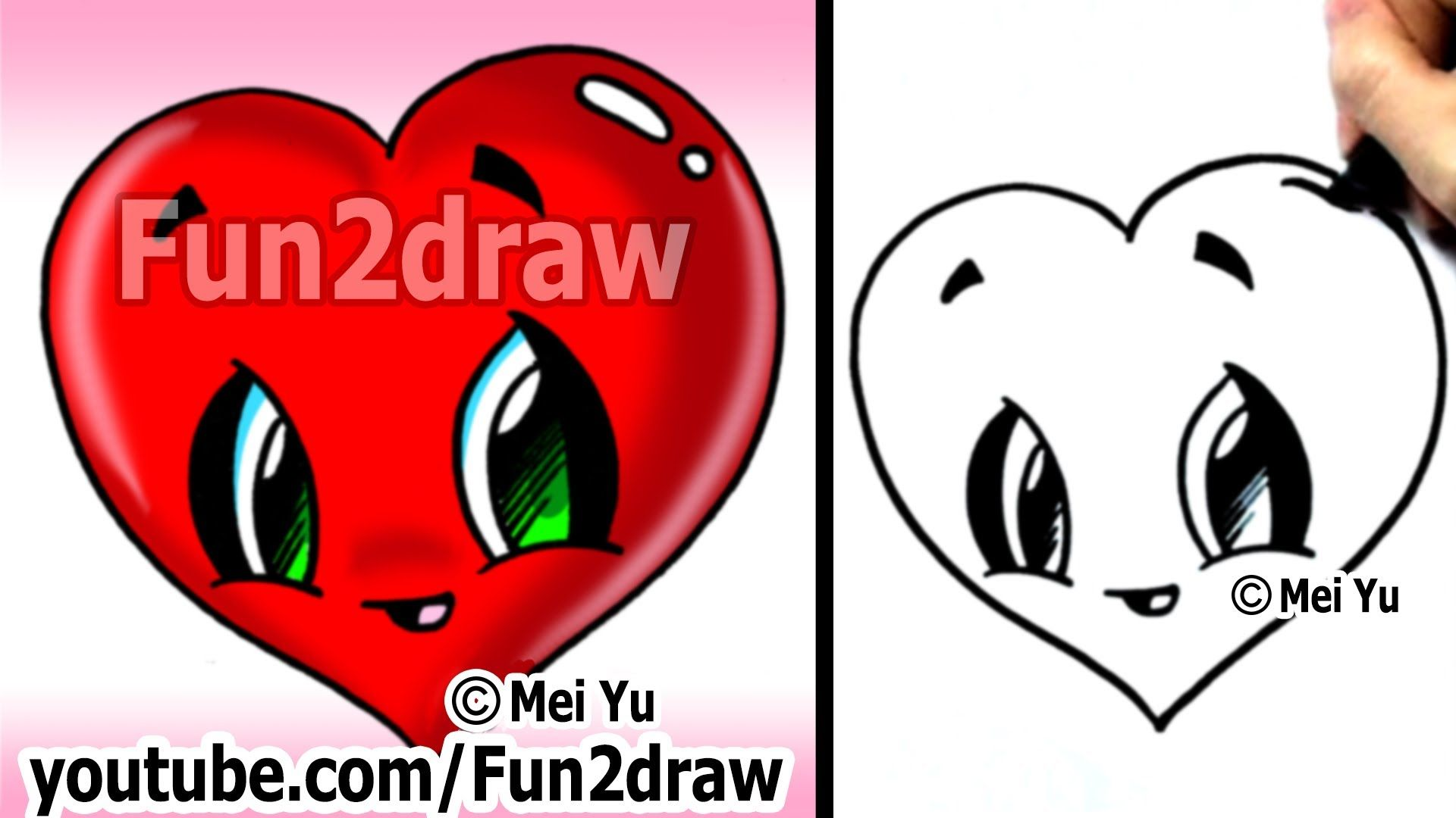 How To Draw A Heart Easy Cute Popular Cartoon Drawing Video Fun Cartoon Drawings Fun2draw Easy Drawings