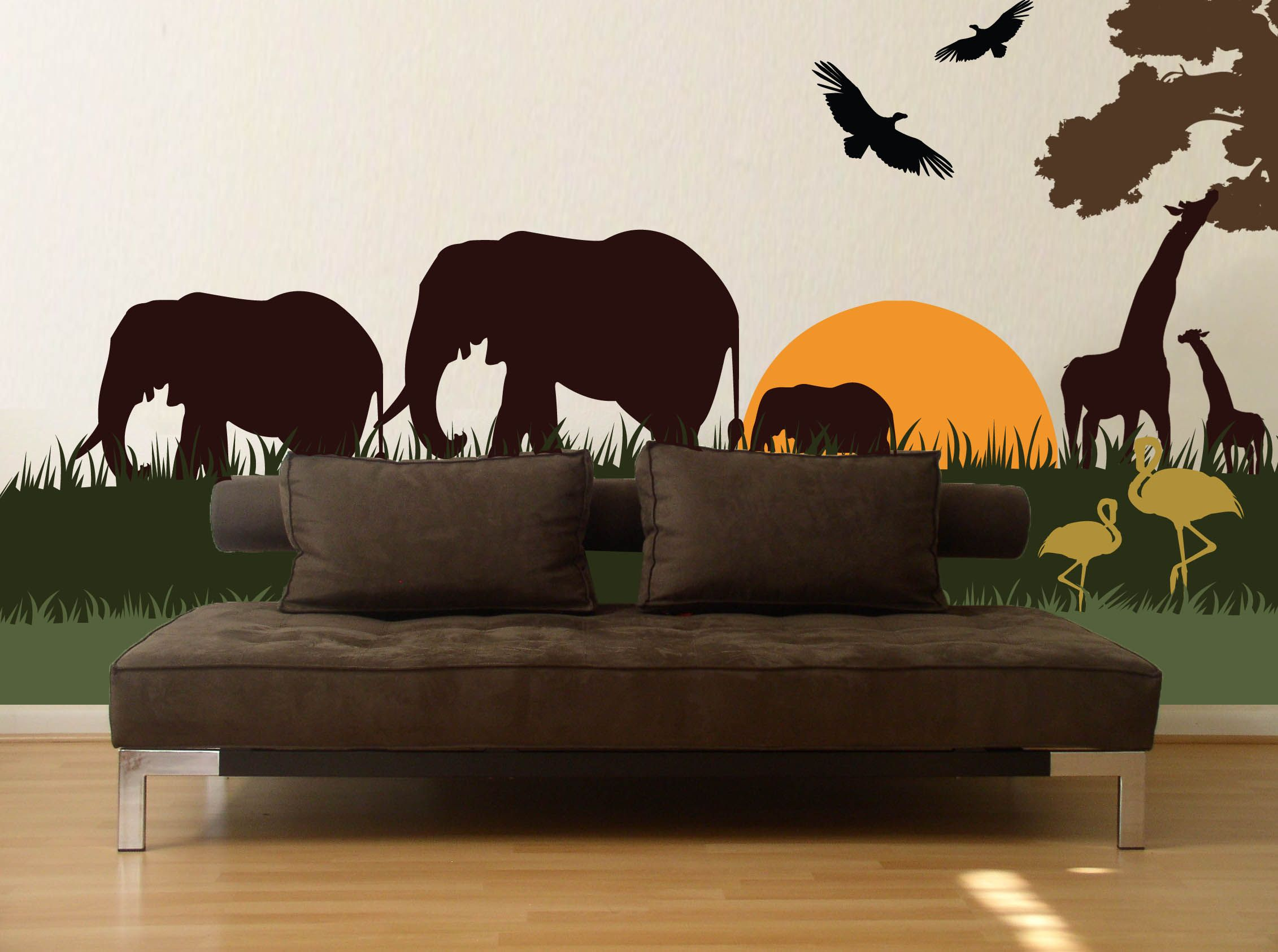 Safari Scene Vinyl Wall Graphic Kit