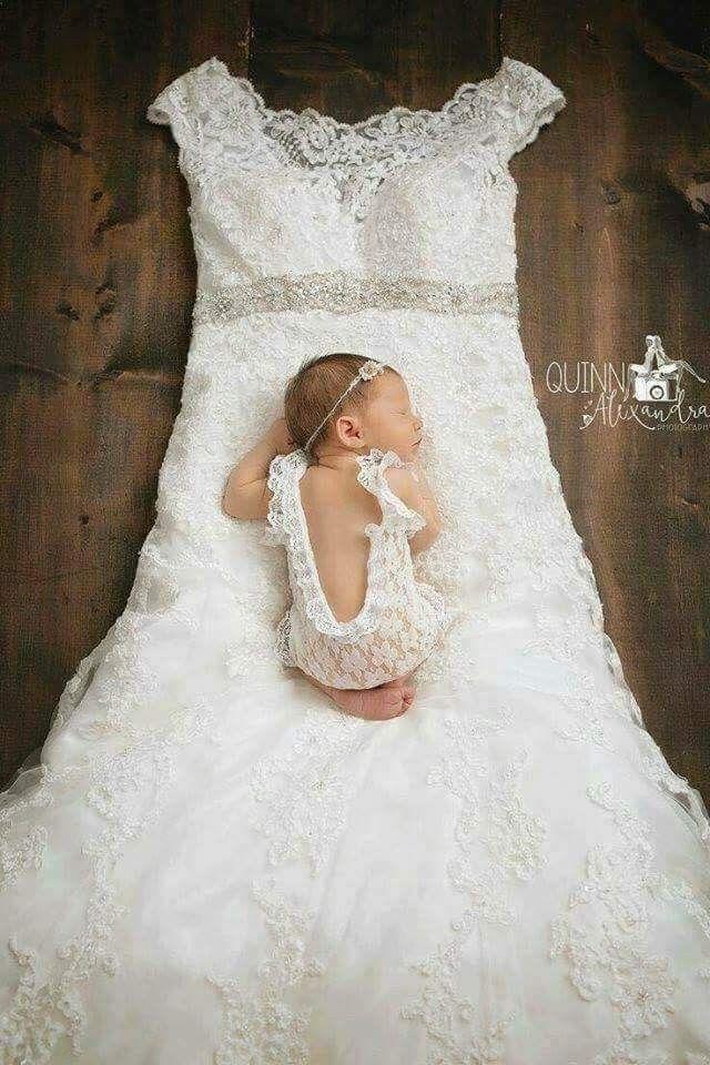 Baby Girl On Moms Wedding Dress Mom Wedding Dress Baby In Wedding Dress Baby Girl Wedding Dress