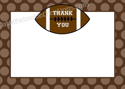 Football Thank You Cards Birthday Thank You Cards Baby Shower Thank You Cards Thank You Note Cards