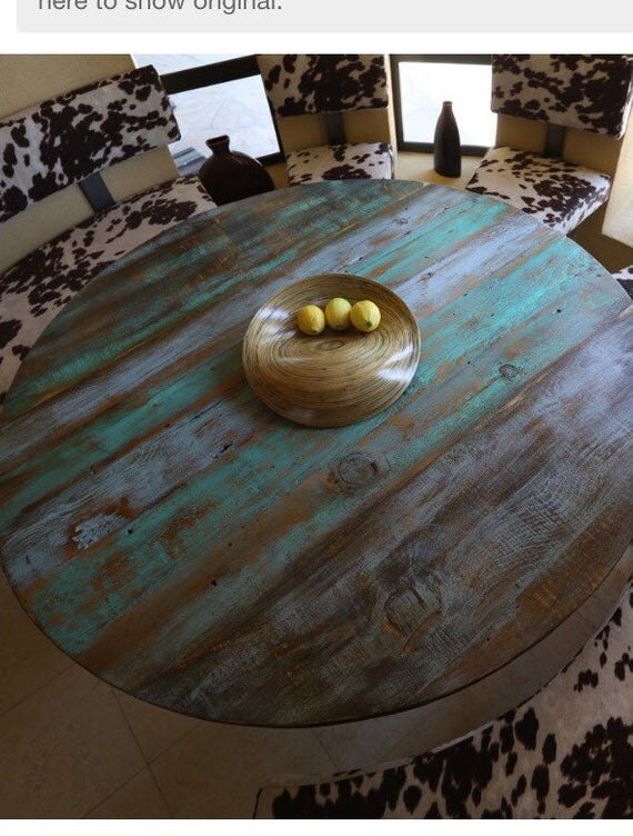 Patina Table Indonesia Blue Rustic Reclaimed Wood Round Table Top Aqua Blue Green Teal Painted Table Tops Distressed Wood Table Reclaimed Wood Table