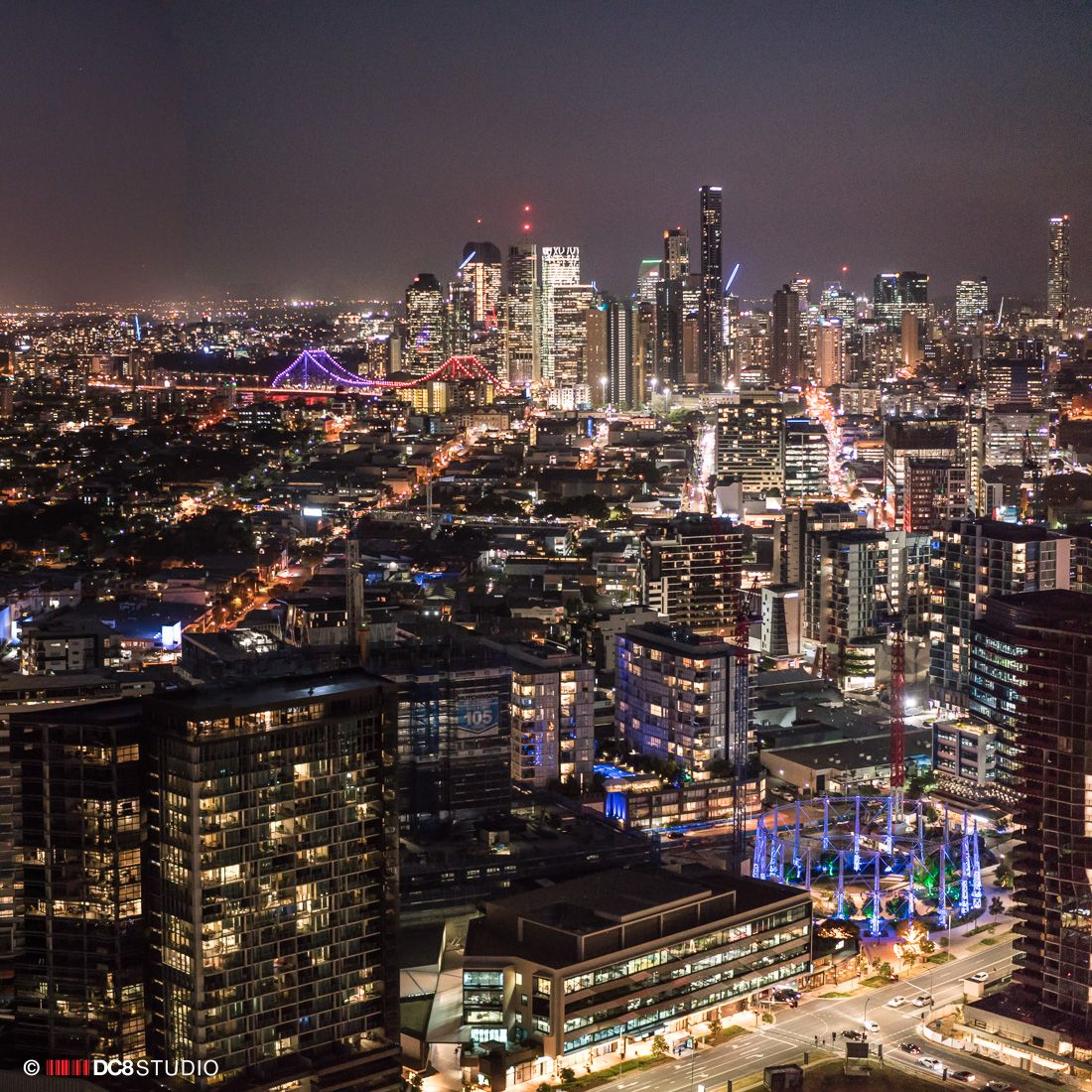 Client shoot of brisbane city at night drones eye view
