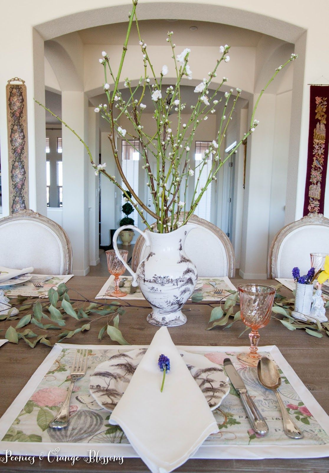 Peonies And Orange Blossoms: Spring Table Setting