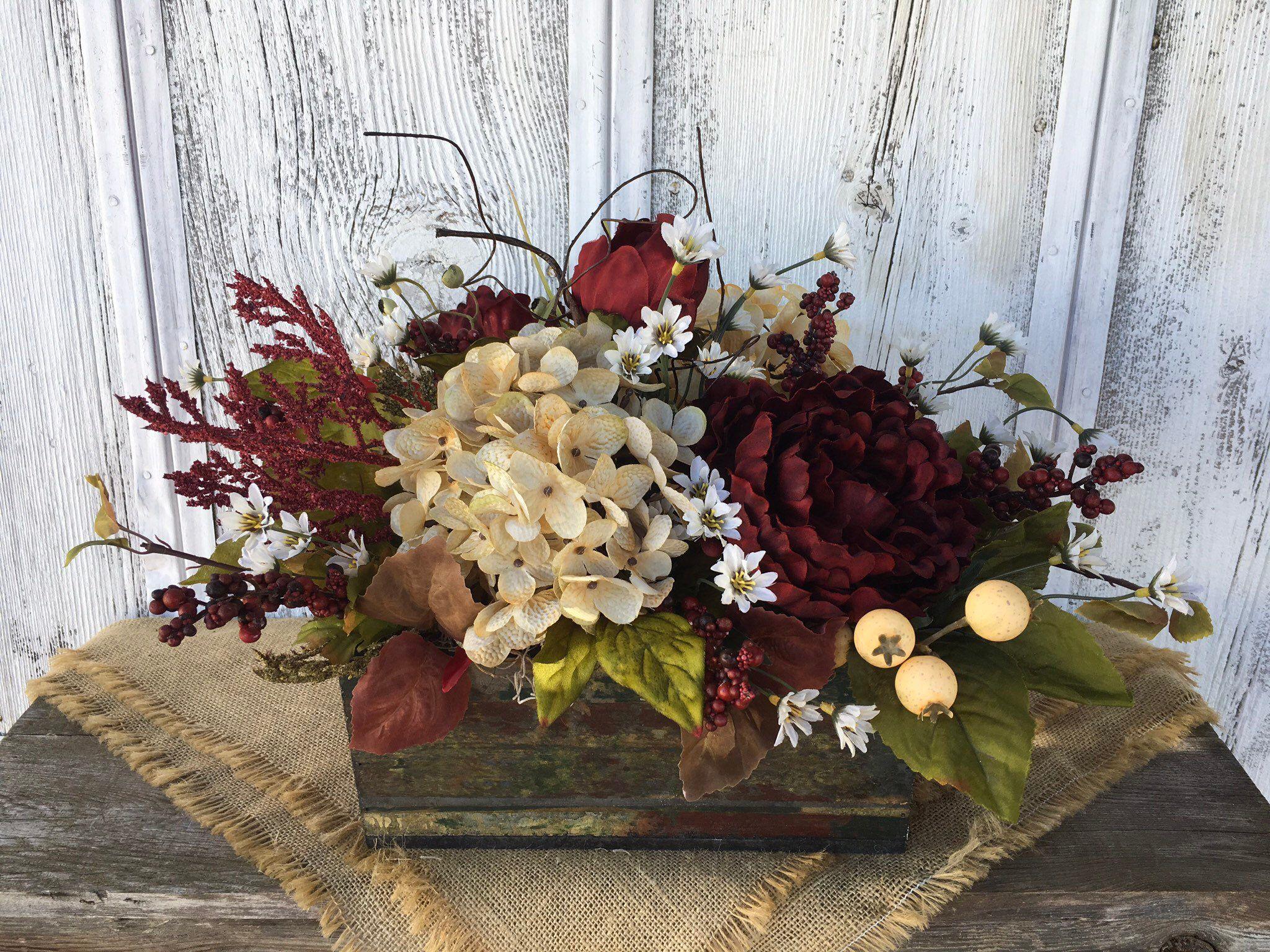 Farmhouse Hydrangeas Floral Arrangement White Wooden Floral Arrangements Floral Centerpieces Spring Floral Arrangements