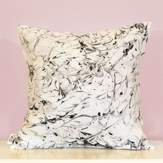 Handmade pillow with hand painted marble pattern. This design is made from a high weight 40% cotton 60% linen fabric, and is designed to fit