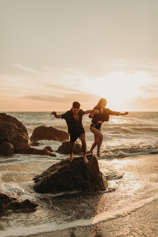 sunset beach engagement photos in malibu, ca