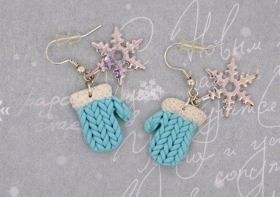 Hellblaue Fimo Winter Handschuhe süße Ohrringe kawaii Weihnachtsgeschenk für sie unter 15 Dol...