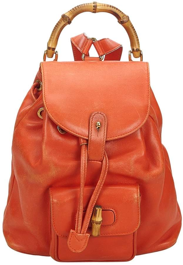 6cce65e245d7a Gucci Vintage Bamboo Orange Leather Backpacks | DIY and crafts in ...