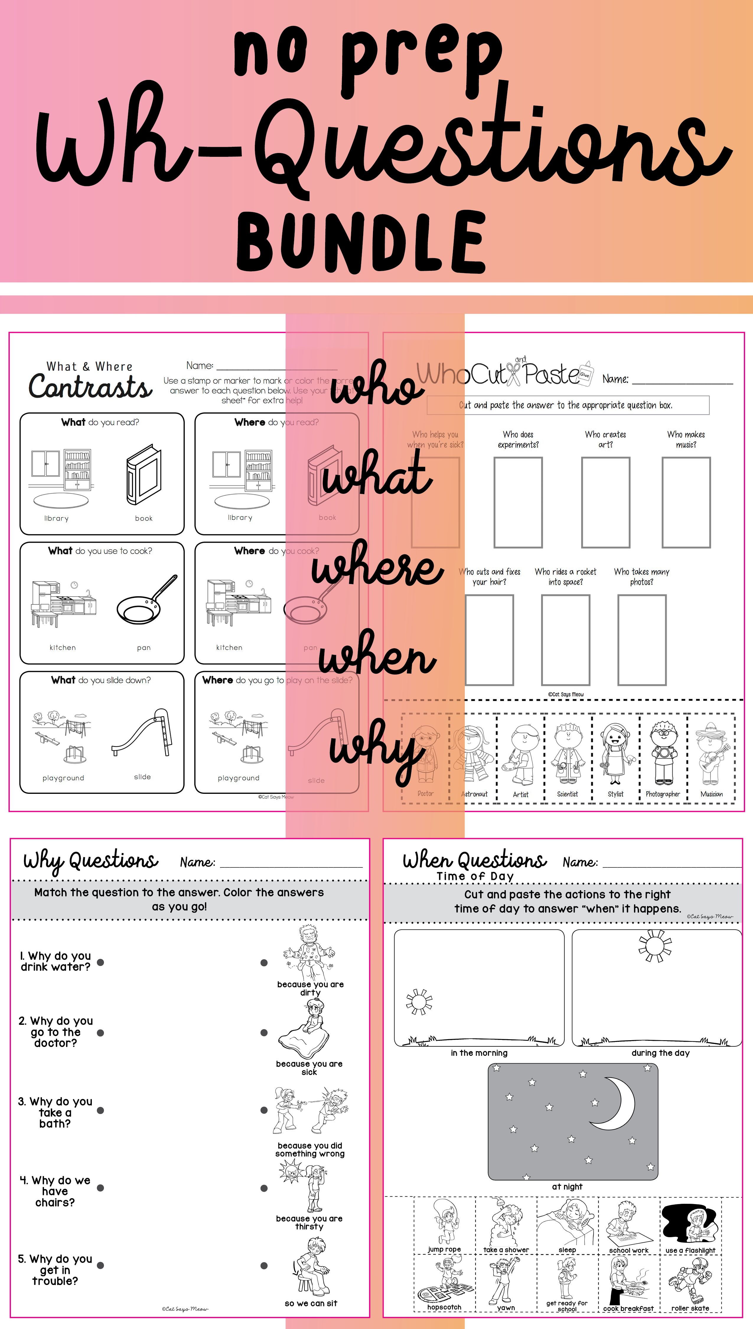 No Prep Wh Questions Bundle Worksheets With Images