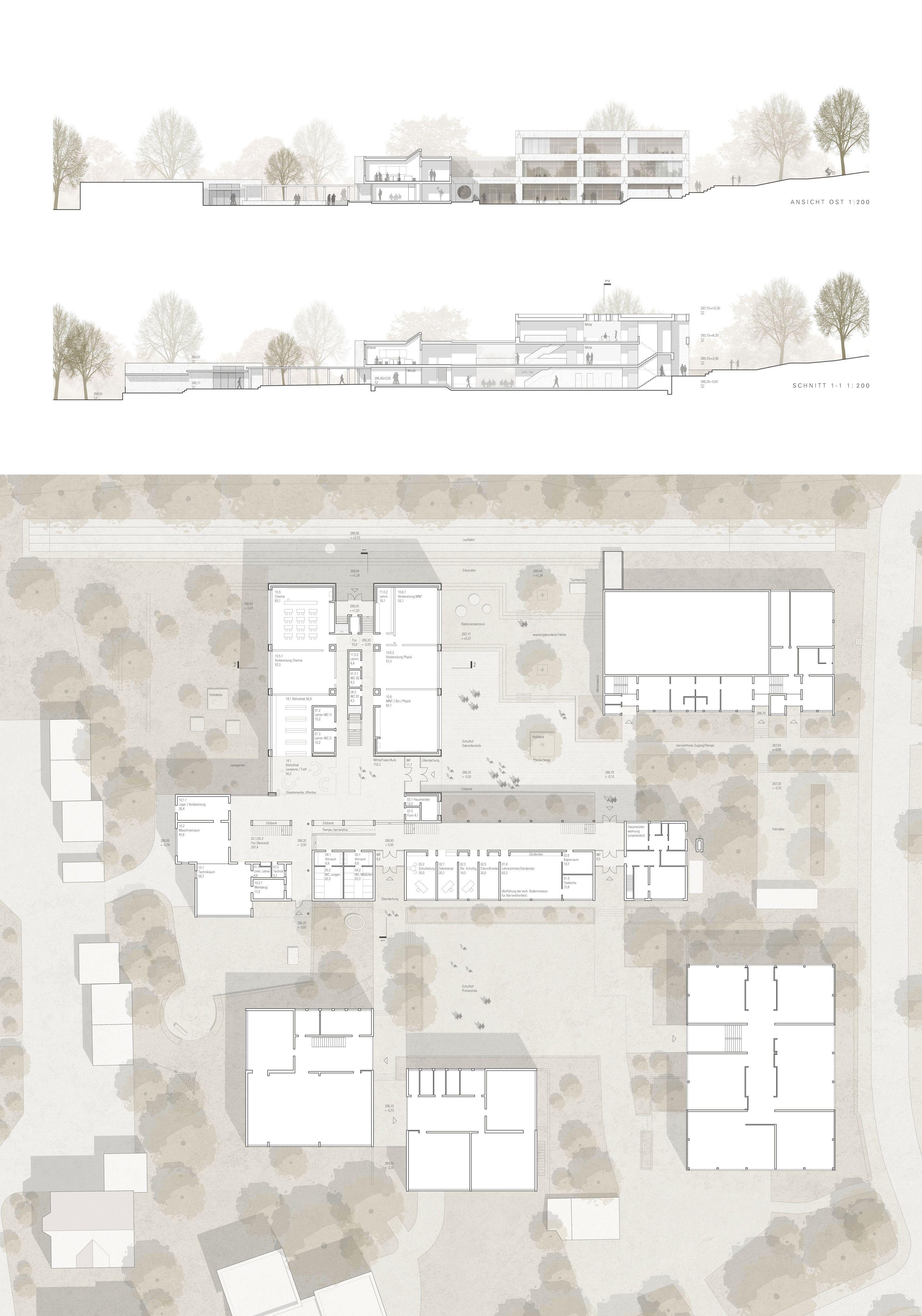 a 2nd prize: floor plan EC, view, section, © dacha architects #architektonischepräsentation
