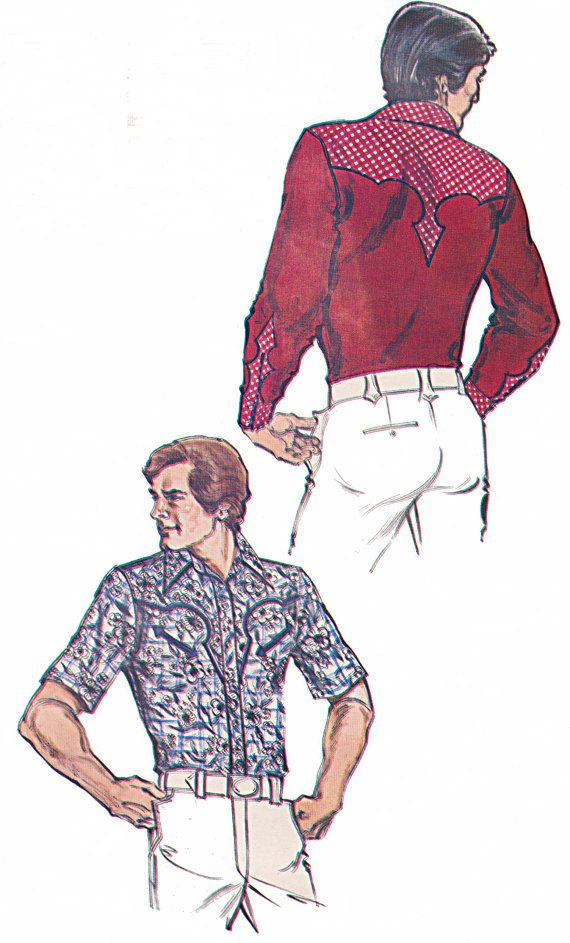 Mens Western Shirt Pattern with Arrow Piping on Pockets and Back ...