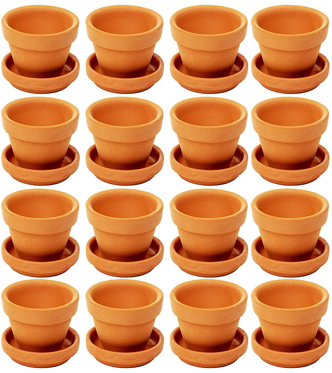 Amazon Com Mini Terra Cotta Pots With Saucer 16 Pack Clay Flower Pots With Saucers Mini Flower Pot P Clay Flower Pots Small Terracotta Pots Terracotta Pots