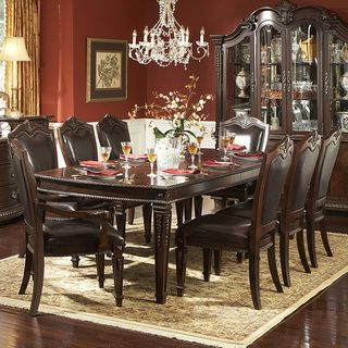 tusca traditional dark brown bi-cast leather 9-piece extendable