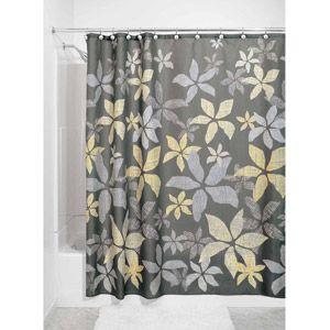 Interdesign Tessa Fabric Shower Curtain Walmart Com Fabric Shower Curtains Gray Shower Curtains Yellow Bathroom Decor