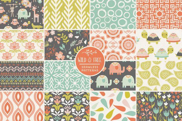 Wild and Free Vector Patterns by Terri Henson on @creativemarket #junglepattern