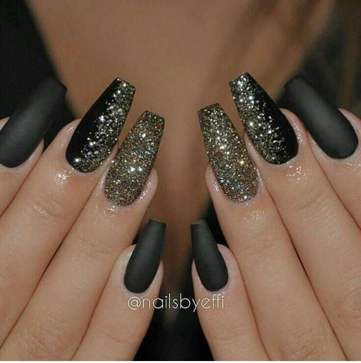 gold #darknails #matte | Claws | Pinterest | Coffin nails, Nail nail ...