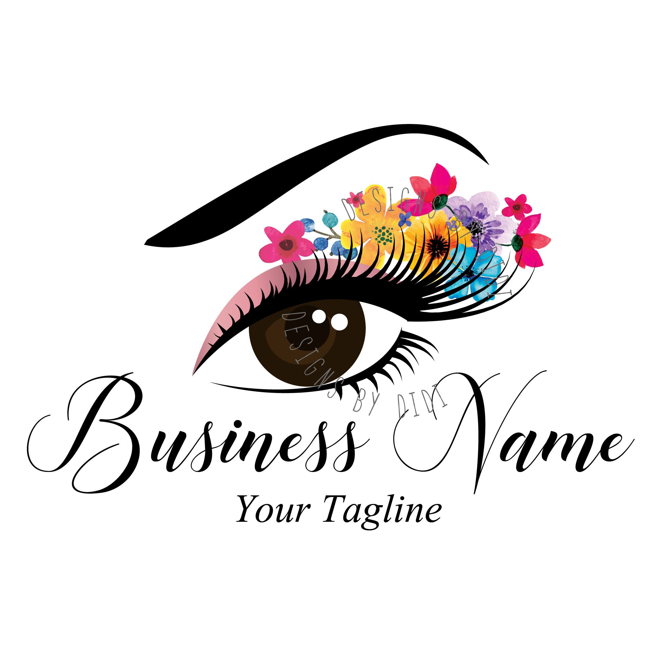 Custom logo, lash flowers logo, eye with flowers logo