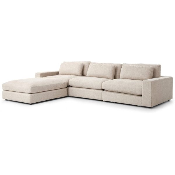 Cornerstone Modern Classic Beige Linen Sectional Sofa 131x92 (4,550 CAD)  Via Polyvore Featuring Home
